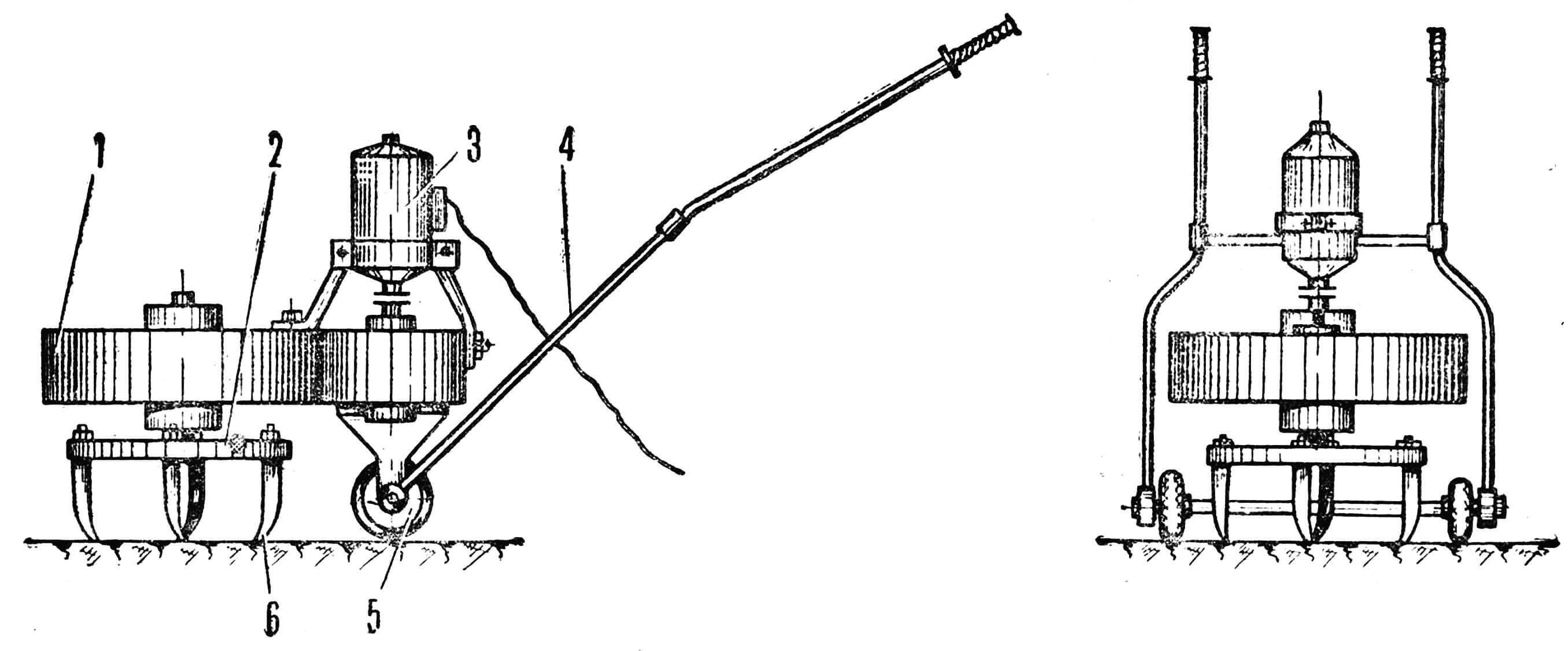 КУЛЬТИРис. 1. Электрорыхлитель: 1 — редуктор, 2 — диск, 3 — электродвигатель, 4 — ручка, 5 — колесо, 6 — рабочий орган.ВАТОР ХОДИТ САМ