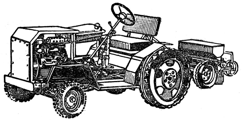 Рис. 1. Общий вид навесной сеялки СН-2 в агрегате с трактором «Упорненец-2».