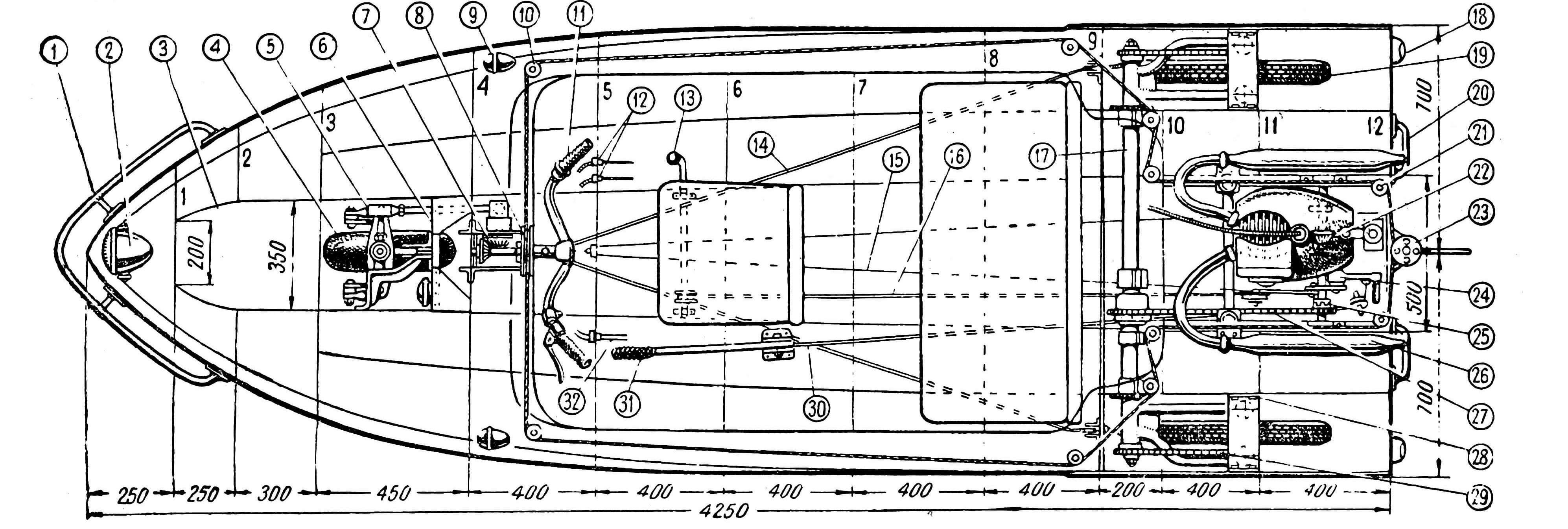 1 — предохранительная дуга; 2 — фара; 3 — люк носового колеса; 4 — носовое колесо; 5 — руле¬вая тяга; 6 — силовая рама подвески переднего колеса; 7 — шестерни рулевого механизма; 8 — барабан штуртроса; 9 — ходовой огонь (спра¬ва — зеленый, слева — красный); 10 — шкив штуртроса; 11 — ручка управления газом; 12 — штуцеры тросов управления сцеплением и га¬зом; 13 — рычаг переключения передач; 14 — тормозной трос; 15 — донный тоннель; 16 — тя¬га переключателя передачи; 17 — задний мост с маятниковыми вилками; 13 — задний габарит¬ный фонарь; 19 — ведущее колесо; 20 — ручка; 21 — ролик штуртроса; 22 — коробка шестерен привода гребного винта; 23 — шкив руля; 24 — кик-стартер; 25 — муфта включения передачи на колеса; 26 — глушитель; 27 — промежуточная цепь; 28 — кронштейн крепления подвески; 29 — ведущая цепь; 30 — трос запуска двигателя; 31 — пусковой рычаг; 32 — гибкий валик спидометра.