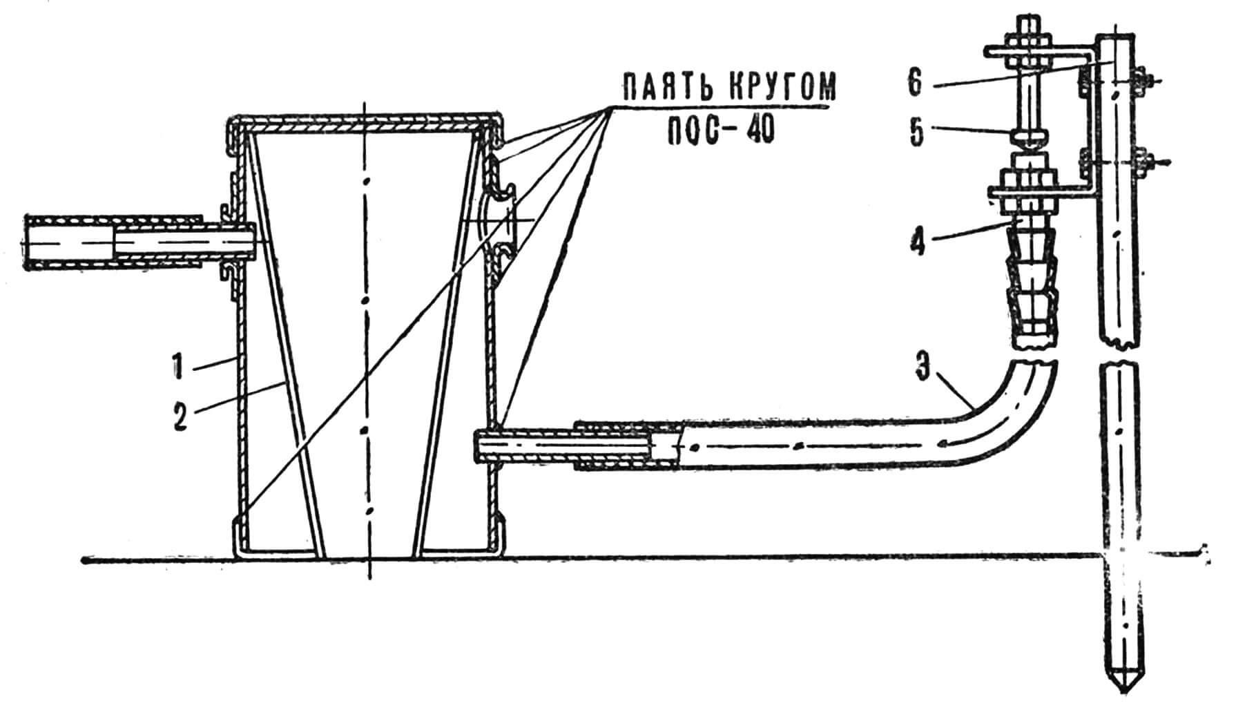 Рис. 1. Общий вид и чертеж короткоструйной дождевальной установки: 1 — подкормочный бачок, 2 — решето, 3 — шланг, 4 — сопло, 5 — конус, 6 — стойка.