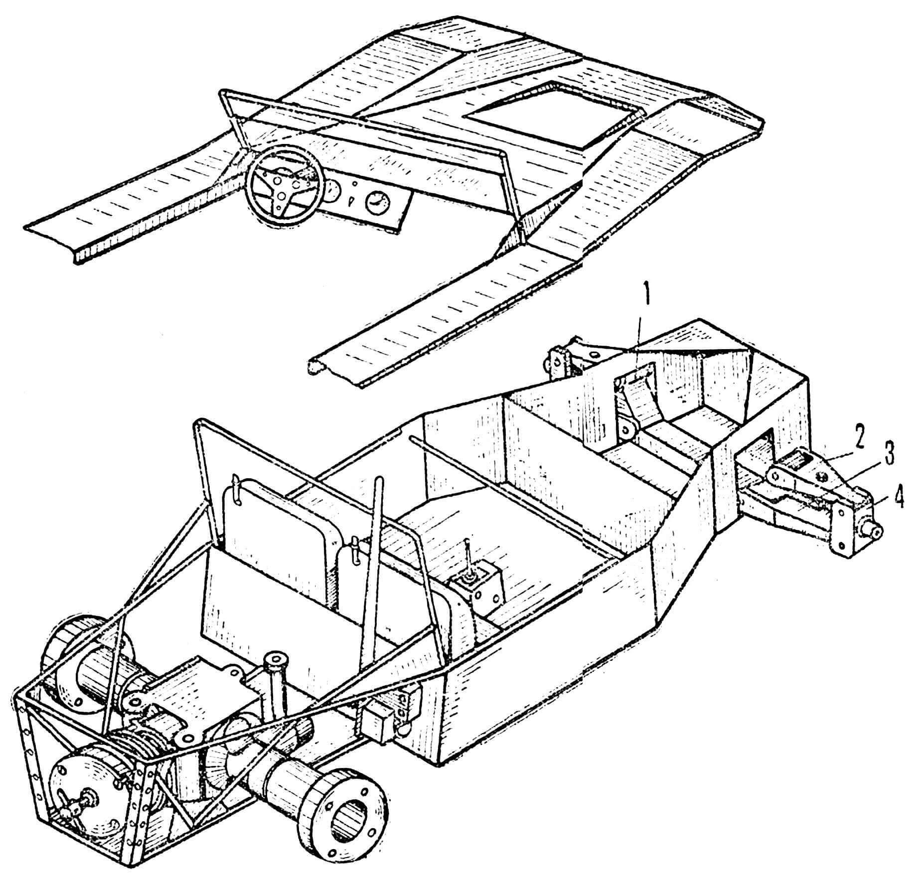 Компоновка узлов и некоторые наиболее сложные в изготовлении детали: 1 — балка переднего моста, Д-16Т, 2 — верхний рычаг подвески, Д-16Т, 3 — нижний рычаг подвески, то же, 4 — цапфа, то же.