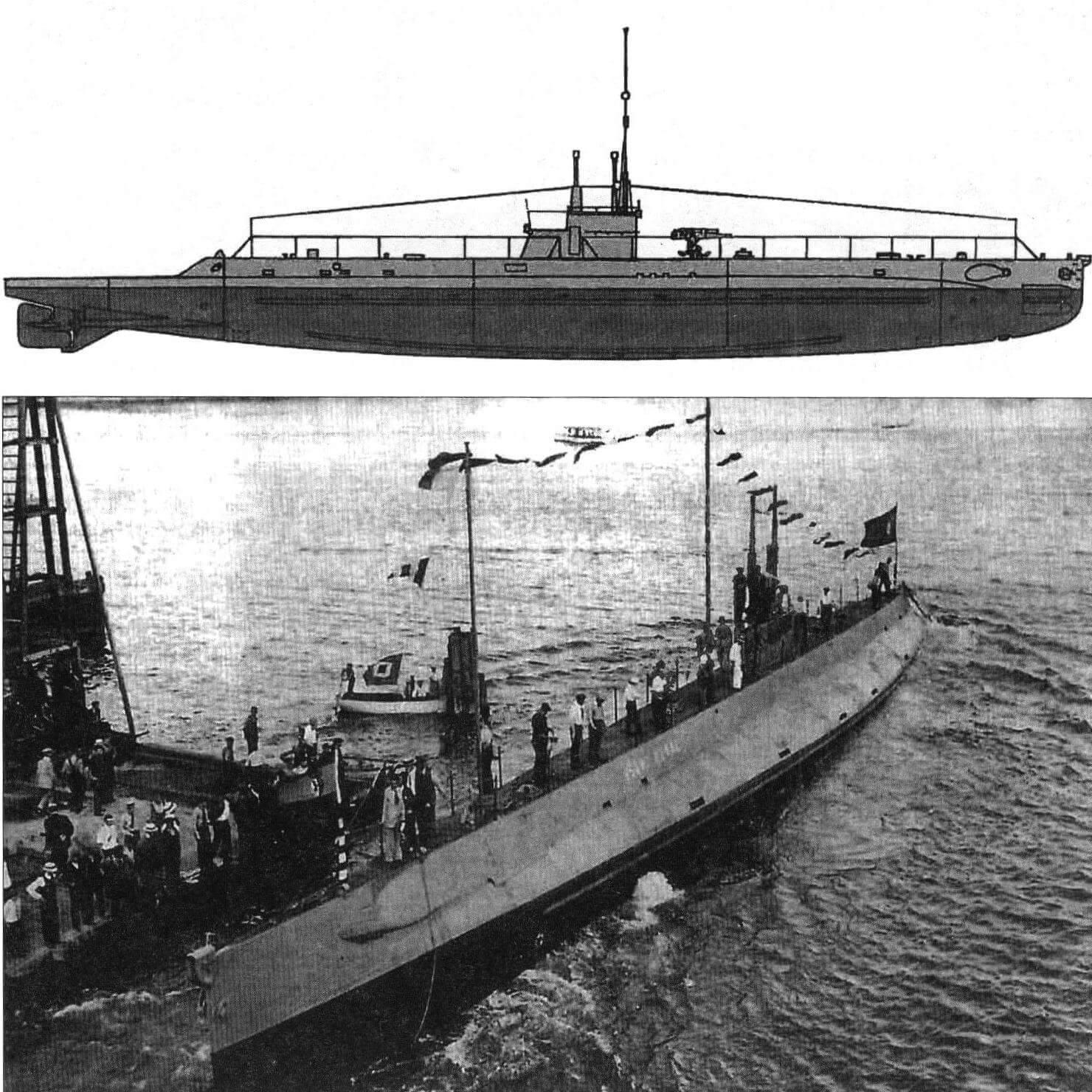Подводная лодка «Исаак Пераль» (Испания, 1917 г.) Строилась на верфи фирмы «Электрик Боут» в Куинси, США. Тип конструкции - двухкорпусный. Водоизмещение надводное/подводное 500/640 т. Размеры: длина 60,1 м, ширина 5,80 м, осадка 4,8 м. Глубина погружения - до 50 м. Двигатель: два дизеля, мощность 1000 л.с. + два электромотора, мощность 480 л.с., скорость надводная/подводная 15/10 уз. Вооружение: четыре 450-мм торпедных аппарата в носу (восемь торпед), одно 76-мм орудие. Экипаж: 28 чел. В 1930 г. выведена в резерв под обозначением «А-0» и вскоре сдана на слом