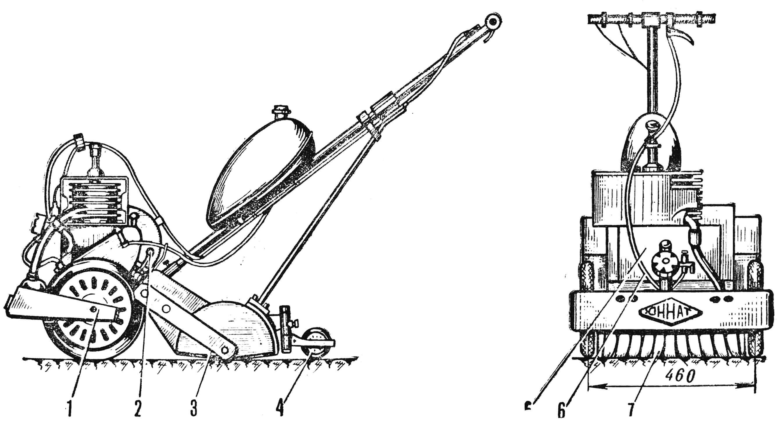 Рис. 2. Проекции моторобота «Юннат»: 1 — рама, 2 — рычаг включения рыхлителя, 3 — кожух, 4 — колесо для регулирования глубины рыхления, 5 — двигатель, 6 — трос управления двигателем, 7 — рыхлитель.