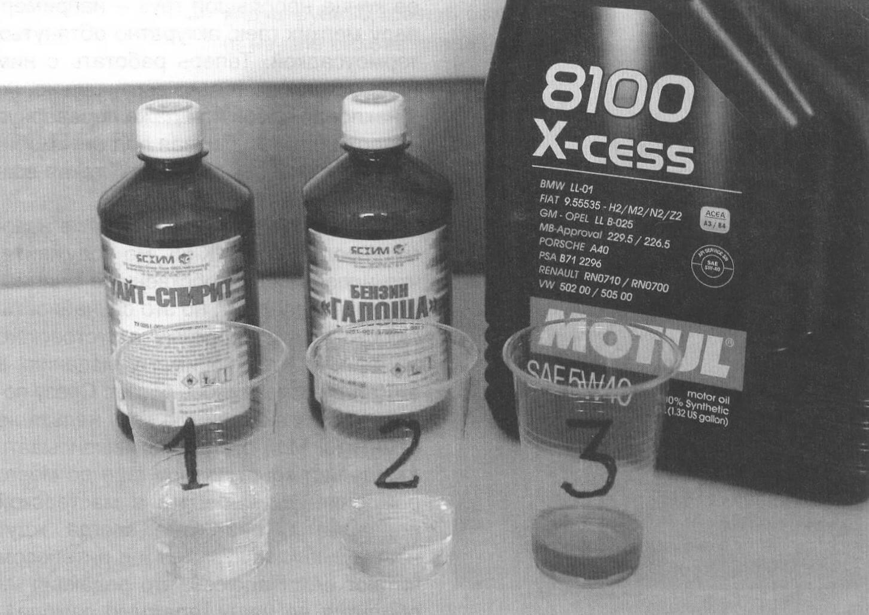 Ингредиенты моего состава самые примитивные: 1 - уайт-спирит, 50 %; 2 - бензин «Галоша», 30 %; 3 - моторное масло, 20 %. В малых объемах отмерять нужное количество компонентов удобно медицинским шприцем, в больших - с помощью тарированных мензурок