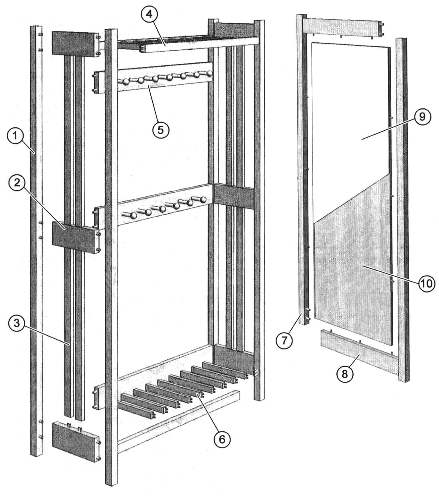 Сборочный чертеж: 1 - стойка (4 шт.), 2 - горизонтальная деталь боковины (6 шт.), 3 - вертикальная деталь боковины (8 шт.), 4 - поперечный элемент каркаса (3 шт.), 5 — поперечный элемент каркаса (3 шт.), 6 - деталь полки (18 шт.), 7 - вертикальная деталь рамы зеркала (2 шт.), 8 - горизонтальная деталь рамы зеркала (2 шт.), 9 - зеркало, 10 - задняя стенка зеркала