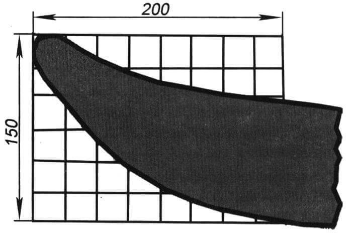 Конфигурация носовых частей полозьев. Шаг ячейки сетки - 25 мм