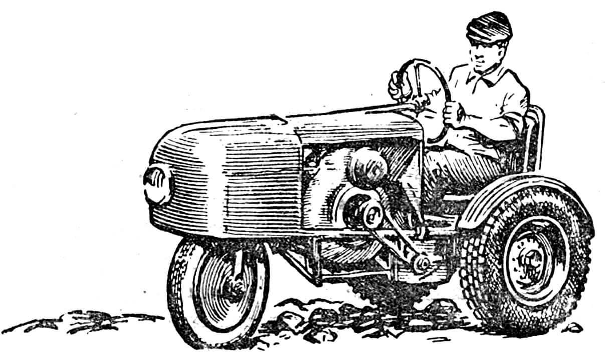 Трактор-трицикл, построенный механиком Н. И. Гуляевым из Смоленской области.