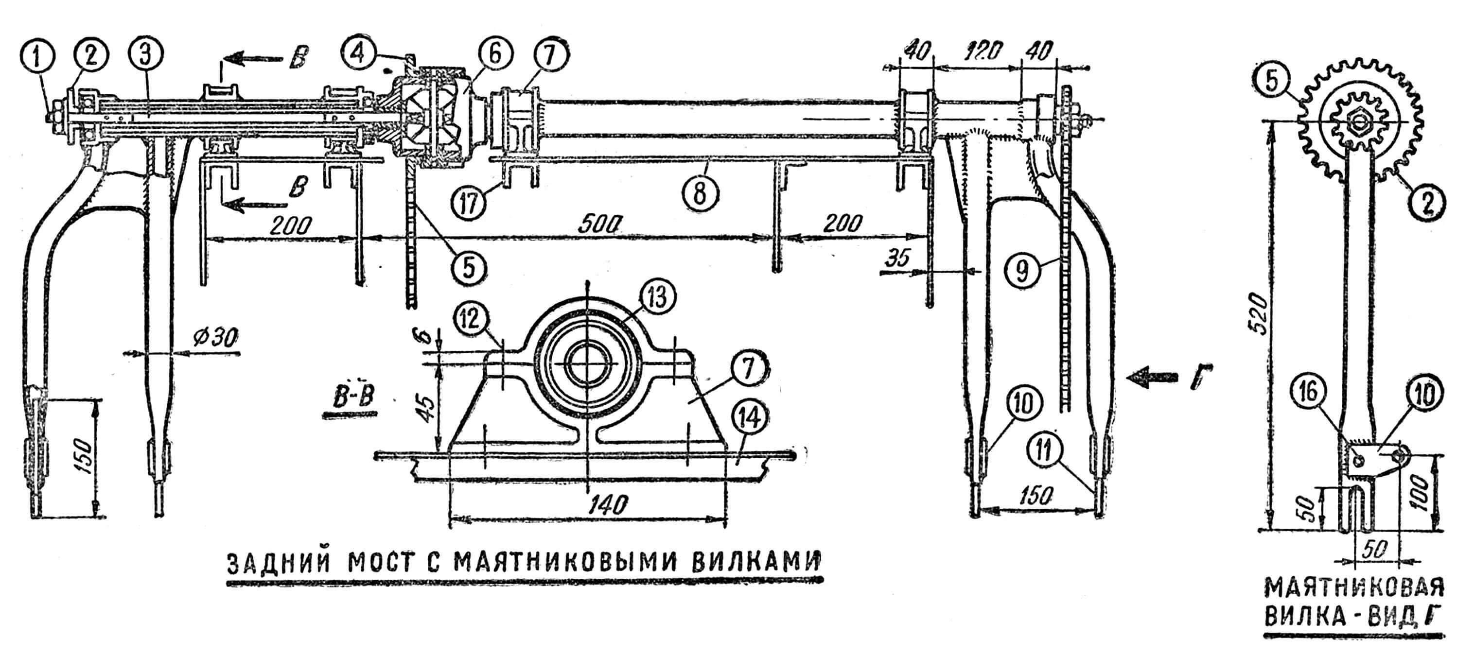 Рис. 2. Задний мост с вилками: 1 — валик; 2 — звездочка цепная; 3 — труба 20x24; 4 — цепная передача на промежуточный валик; 5 — звездочка цепи дифференциала; 6 — дифференциал; 7 — башмак крепления заднего моста; 8 — рама № 10; 9 — цепная передача на колеса; 10 — пластины для крепления подвесок; 11 — пластины для крепления осей колес; 12 — болты ᴓ 6 мм; 13 — бронзовые вкладыши; 14 — силовые угольники на раме № 10; 15 — подшипник N° 304; 16 — отверстие фиксатора; 17 — силовые профили на раме № 10.