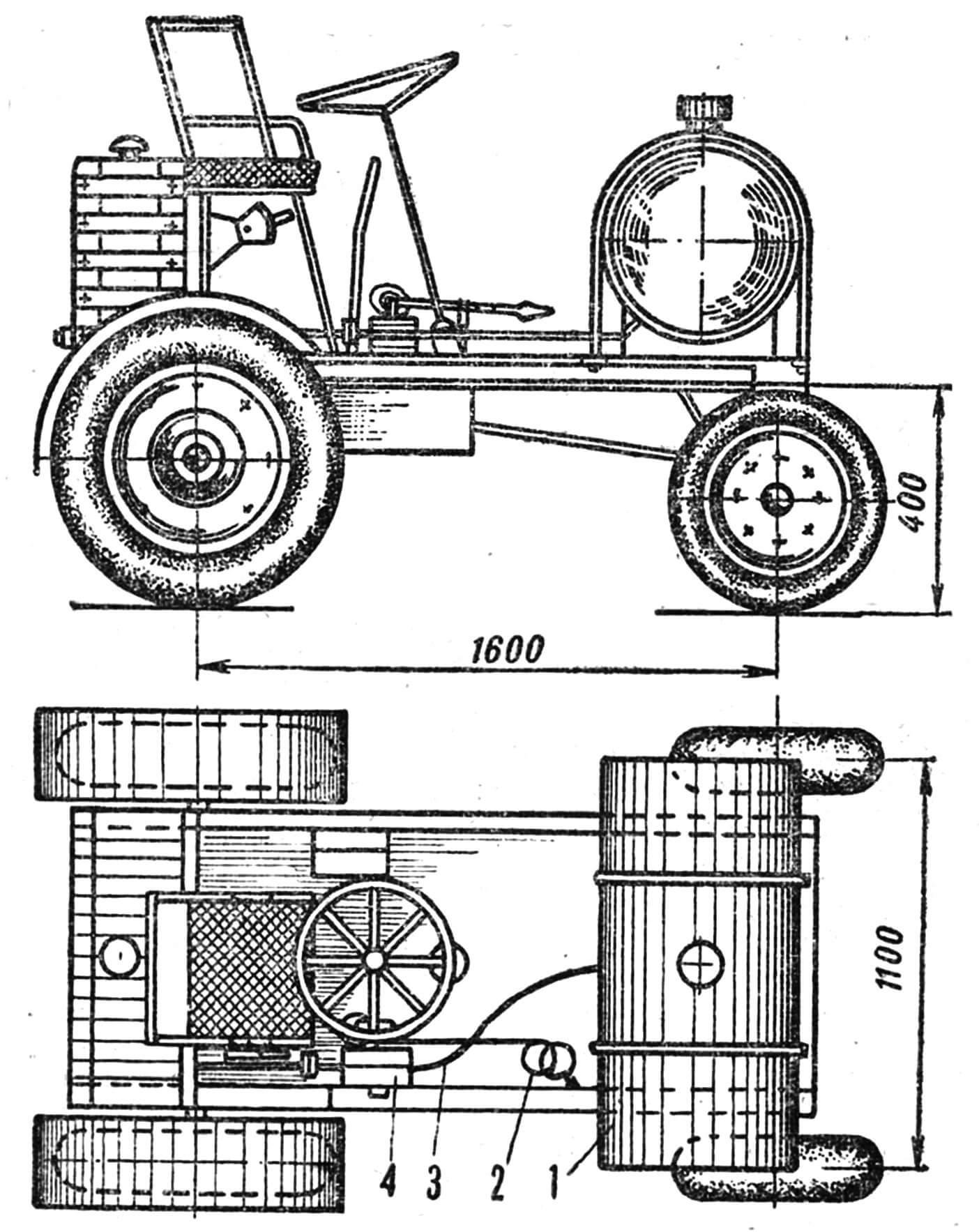Рис. 2. Самоходный поливальный агрегат: 1 — бак, 2— нагнетательный шланг, 3 — всасывающий шланг, 4 — шестеренчатый насос.