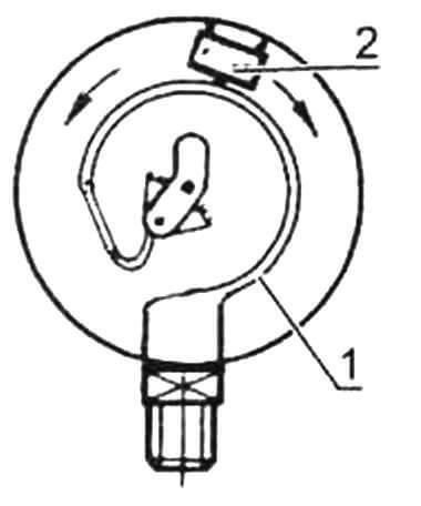 Установка микровыключатели в манометре: 1 - трубка Бурдо; 2- микровыключатель