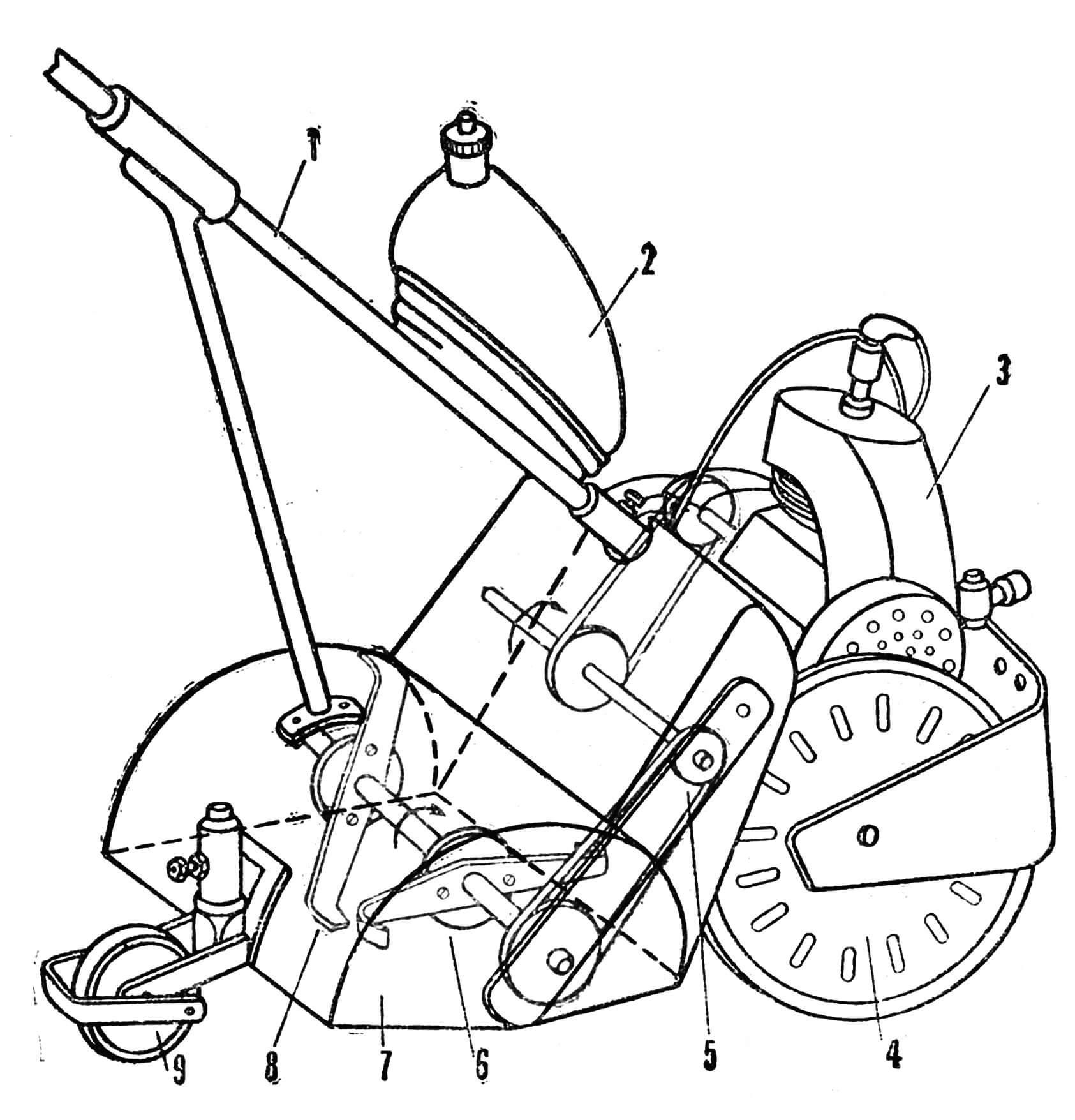 Рис. 4. Размещение узлов и агрегатов моторобота «Юннат»: 1 — штанга управления, 2 — бензобак, 3 — двигатель Д-4-К, 4 — колесо, 5 — промежуточный валик, 6 — фреза, 7 — защитный кожух (R=110 мм), 8 — нож фрезы (R=90 мм), 9 — опорный каток.