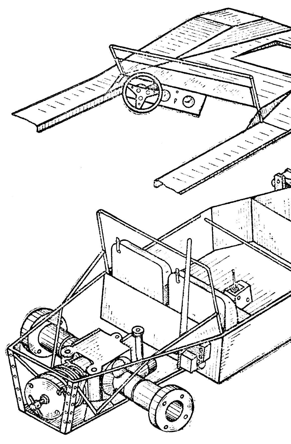 Компоновка узлов и некоторые наиболее сложные в изготовлении детали. 1 — балка переднего моста, Д-16Т, 2 — верхний рычаг подвески, Д-16Т, 3 — нижний рычаг подвески, то же, 4 — цапфа, то же.