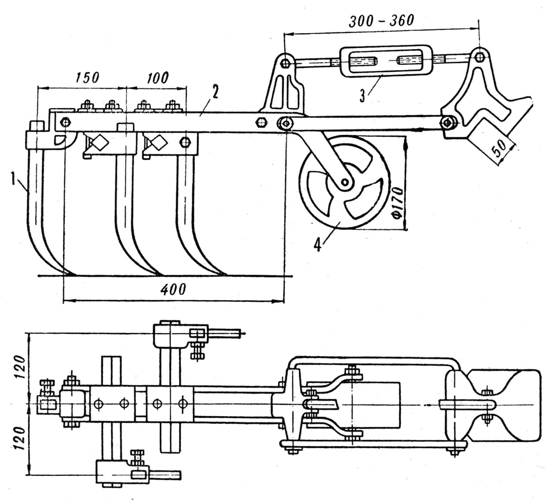 Рис. 3. Секция самоходного рыхлителя: 1 — лапа, 2 — рама, 3 — растяжка, 4 — опорный каток.