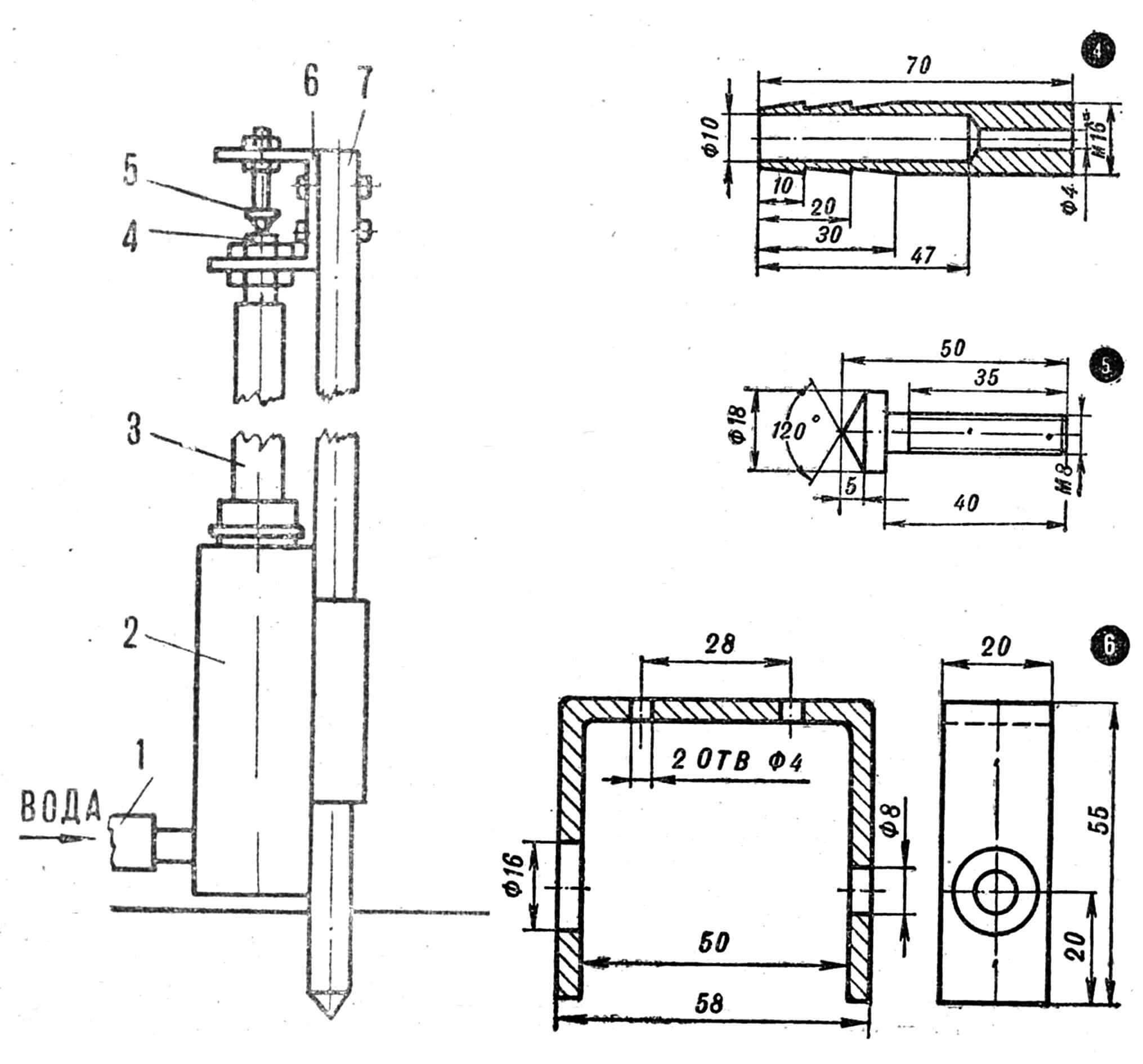 Рис. 3. Устройство дождевальной установки: 1 — подводной шланг, 2 — подкормочный бачок, 3 — соединительный шланг, 4 — сопло, 5 — конус, 6 — скоба, 7 — стойка.
