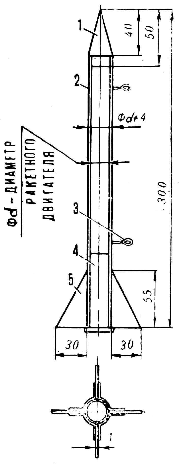 Рис. 4. Модель ракеты: 1 — головка ракеты, 2 — корпус, 3 — направляющие петли, 4 — стандартный ракетный двигатель, 5 — стабилизатор.