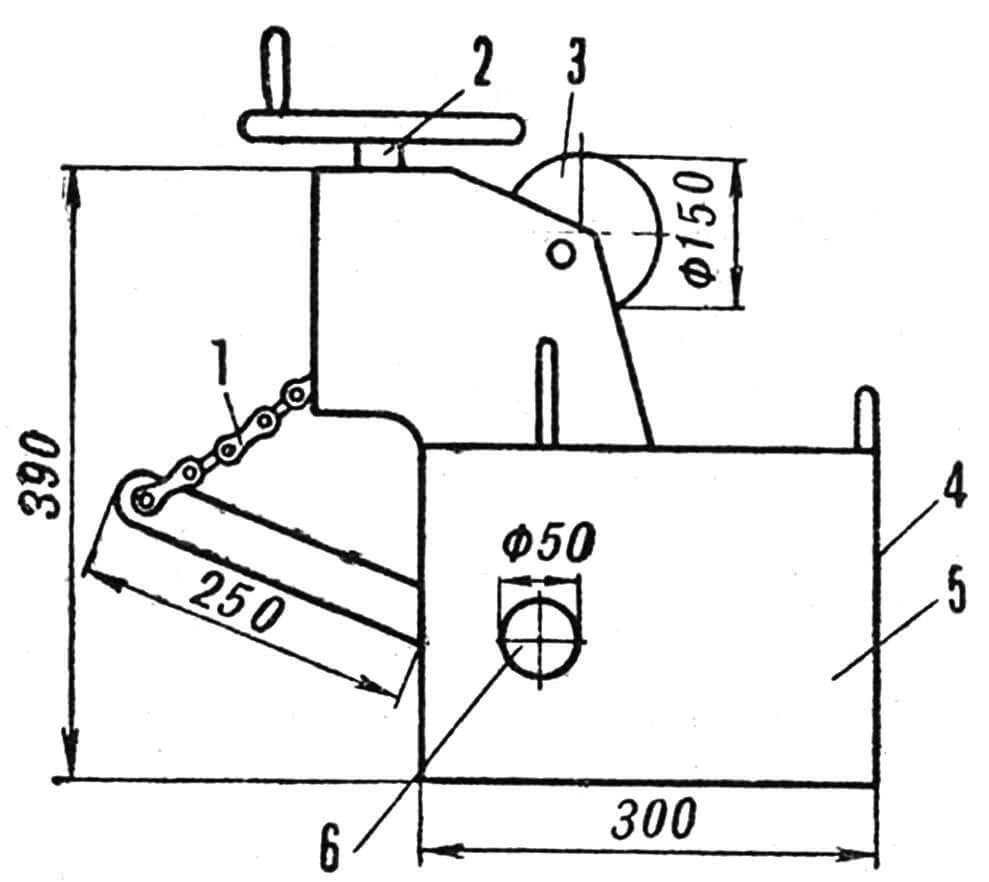 Рис. 4. Механизм подъемника рыхлителя: 1 — цепь, 2 — винт, 3 — червячная лебедка, 4 — место соединения с трактором, 5 — несущая рама, 6 — вал подъемника.
