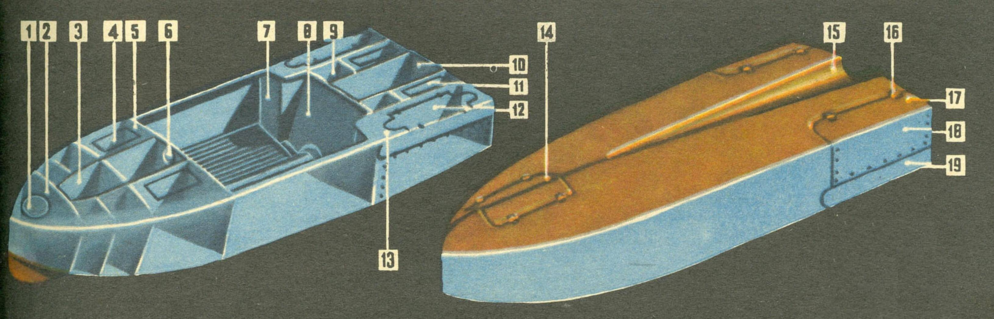 Корпус лодки-амфибии: 1 — люк носового отсека, 2 — носовой отсек, 3 — люк носового колеса, 4 — лючок 4-го гермоотсека, 5 — палуба, 6 — люк рулевого управления, 7 — усиление корпуса, 8 — стенка заднего гермоотсека, 9 — люк доступа к моторному отсеку, 10 — моторный отсек, 11 — усиления кожуха, 12 — люки задних колес, 13 — кожух, 14 — люк носового колеса, 15 — желоб, 16 — петли люков задних колес 17-18 — откидная створка для монтажа заднего колеса, 19 — съемная часть обшивки корпуса.