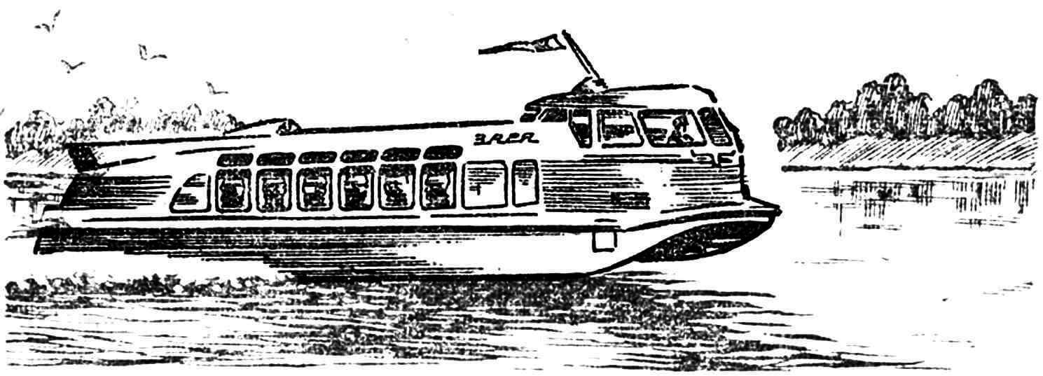 Рис. 4. «Водяной автобус» — глиссирующий 86-местный теплоход «Заря» с водометным движителем. Технические данные: длина — 21 м, ширина — 3,65 м, осадка — 0,47 м, водоизмещение — 21,9 т, скорость — до 45 км/час.