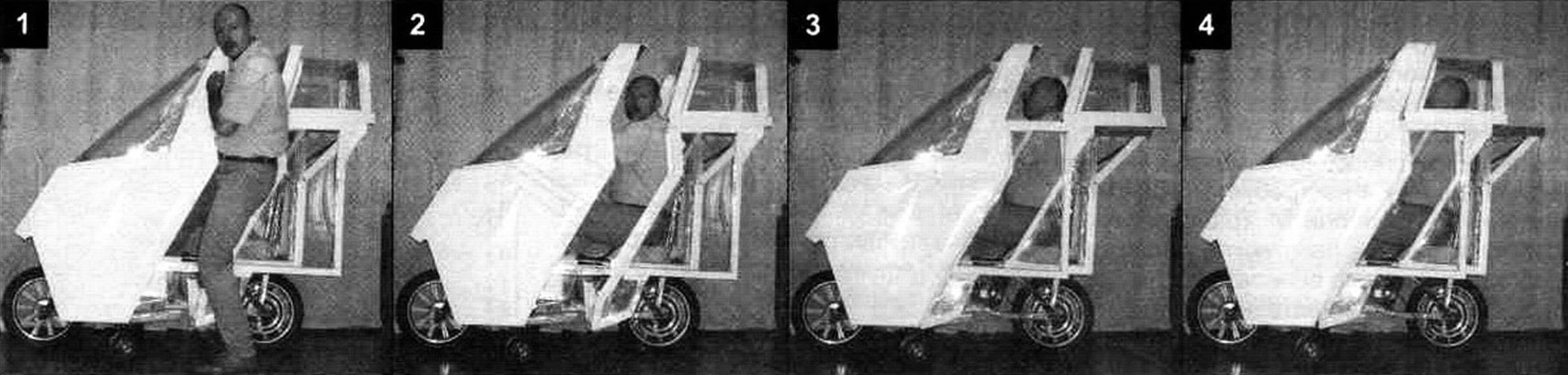 «Покадровая» съемка процесса посадки в кабину: сдвигаем L-образную дверь вместе с «фонарем» назад и заходим боком внутрь (1), усаживаемся на сиденье (2), закрываем дверь, сдвигая ее вперед (3), при необходимости закрываем «фонарь» (4)