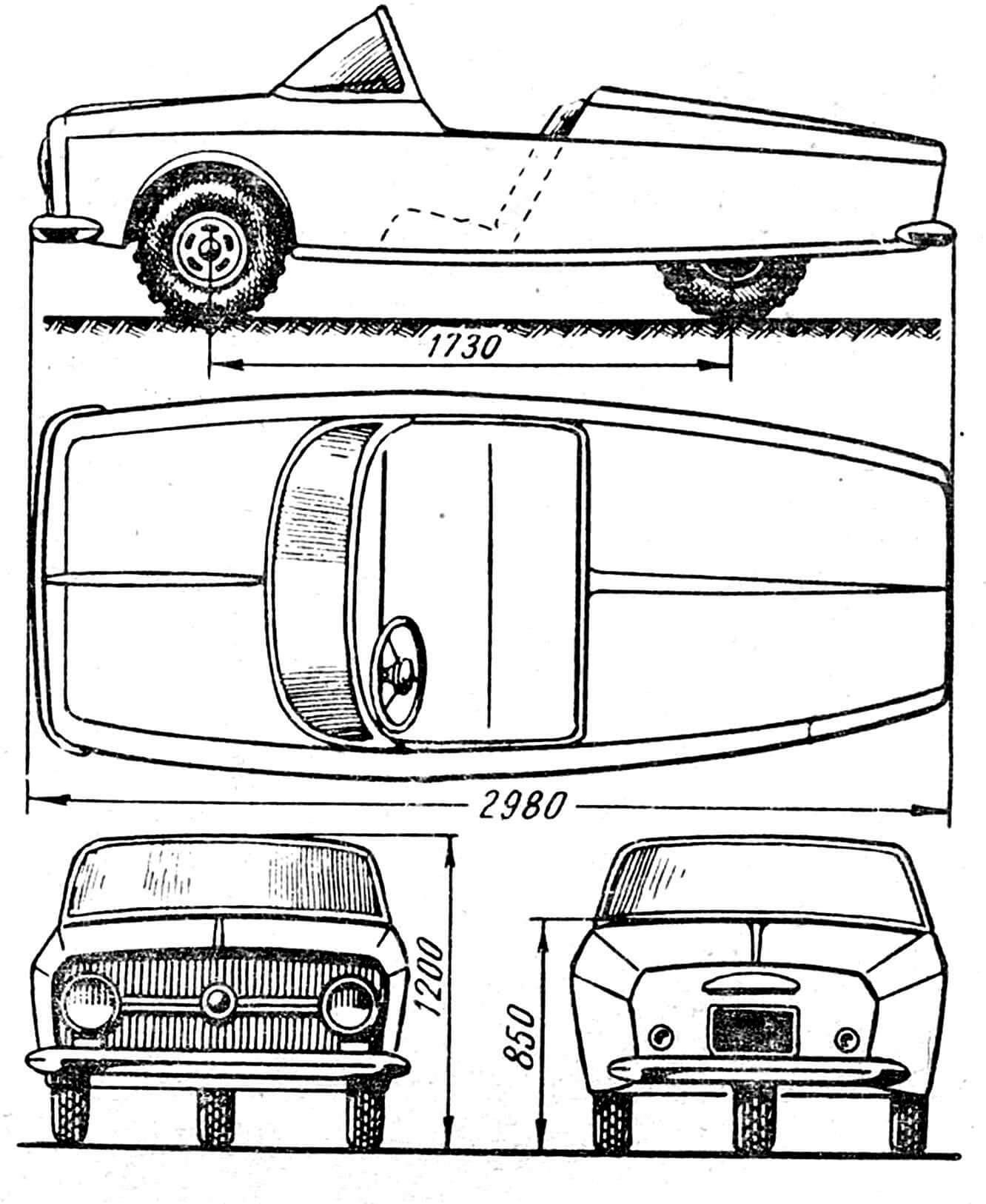 Рис. 1. Схема в трех проекциях и основные размеры.