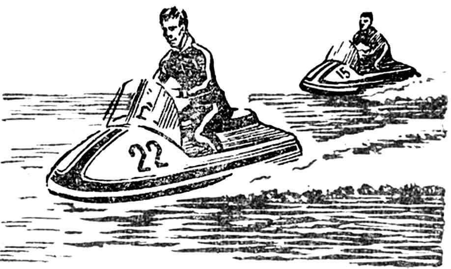Рис. 5. «Морская блоха» — миниатюрное спортивное судно оригинальной конструкции с водометным движителем. Длина — 2,8 м, ширина — 1,3 м, вес — 85 кг, скорость — до 50 км/час.