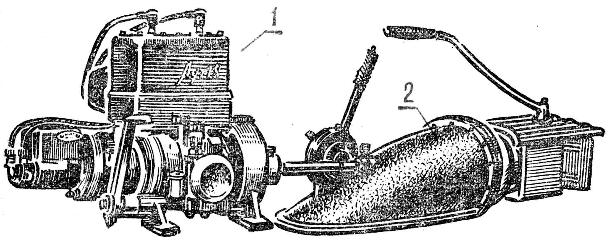 Рис. 6. Водометный комплекс «Луч-18», серийно выпускаемый Богородским механическим заводом для продажи населению: 1 — двигатель внутреннего сгорания, мощность — 18 л. с.; 2 — водометный движитель.