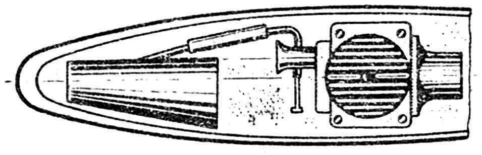 Рис. 1. Расположение осевой линии модели и диффузора карбюратора.
