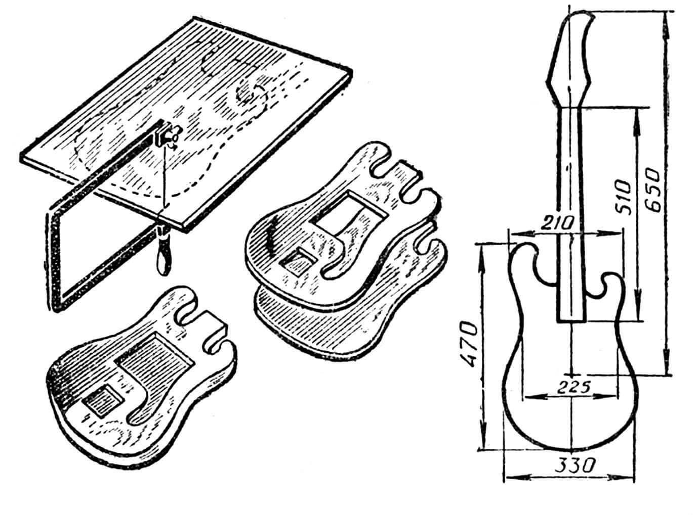 Рис. 1. Изготовление корпуса электрогитары.