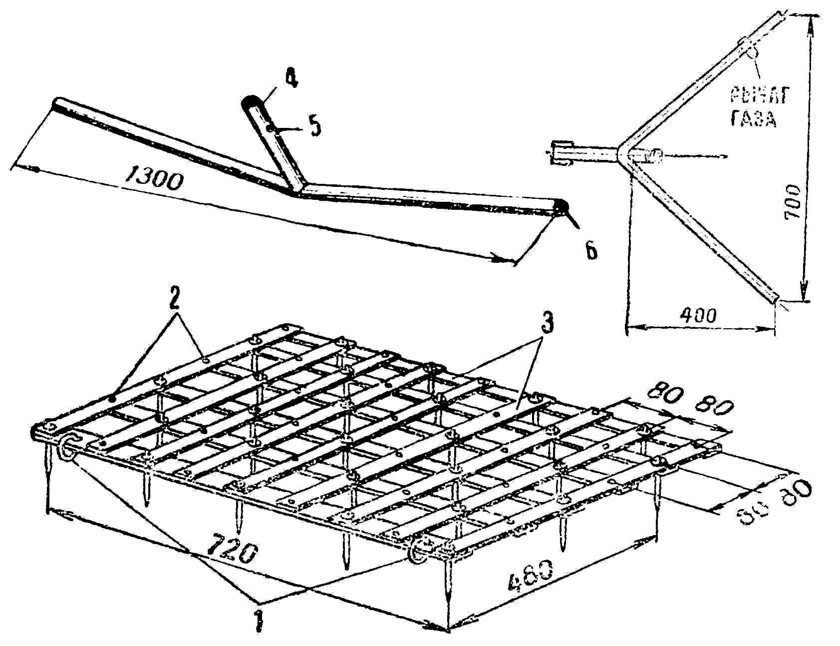 Борона и зацеп для мотоплуга: 1 — кольца для зацепа; 2 — болты М2; 3 — рама (полосовая сталь 30x3 мм),