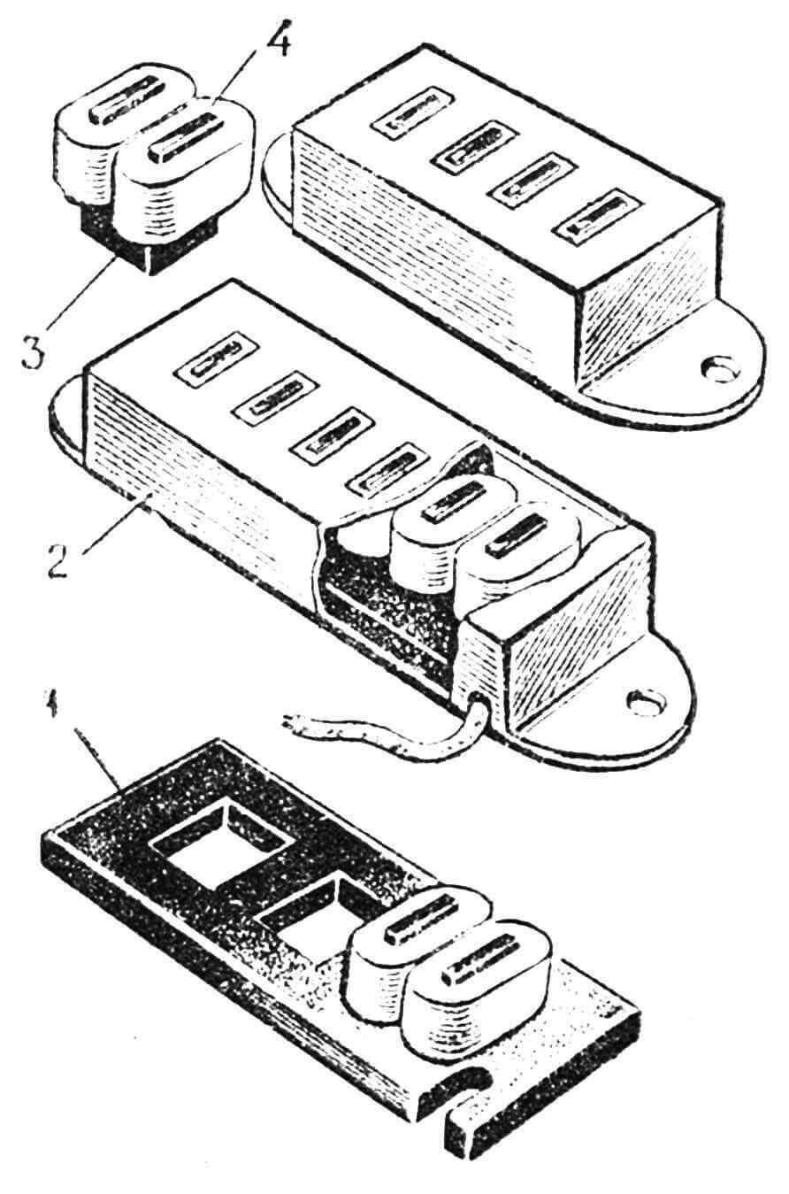 Рис. 10. Звукосниматели для гитар соло и ритм: 1 — основание, 2 — корпус (экран), 3 — магнит, 4 — катушки.