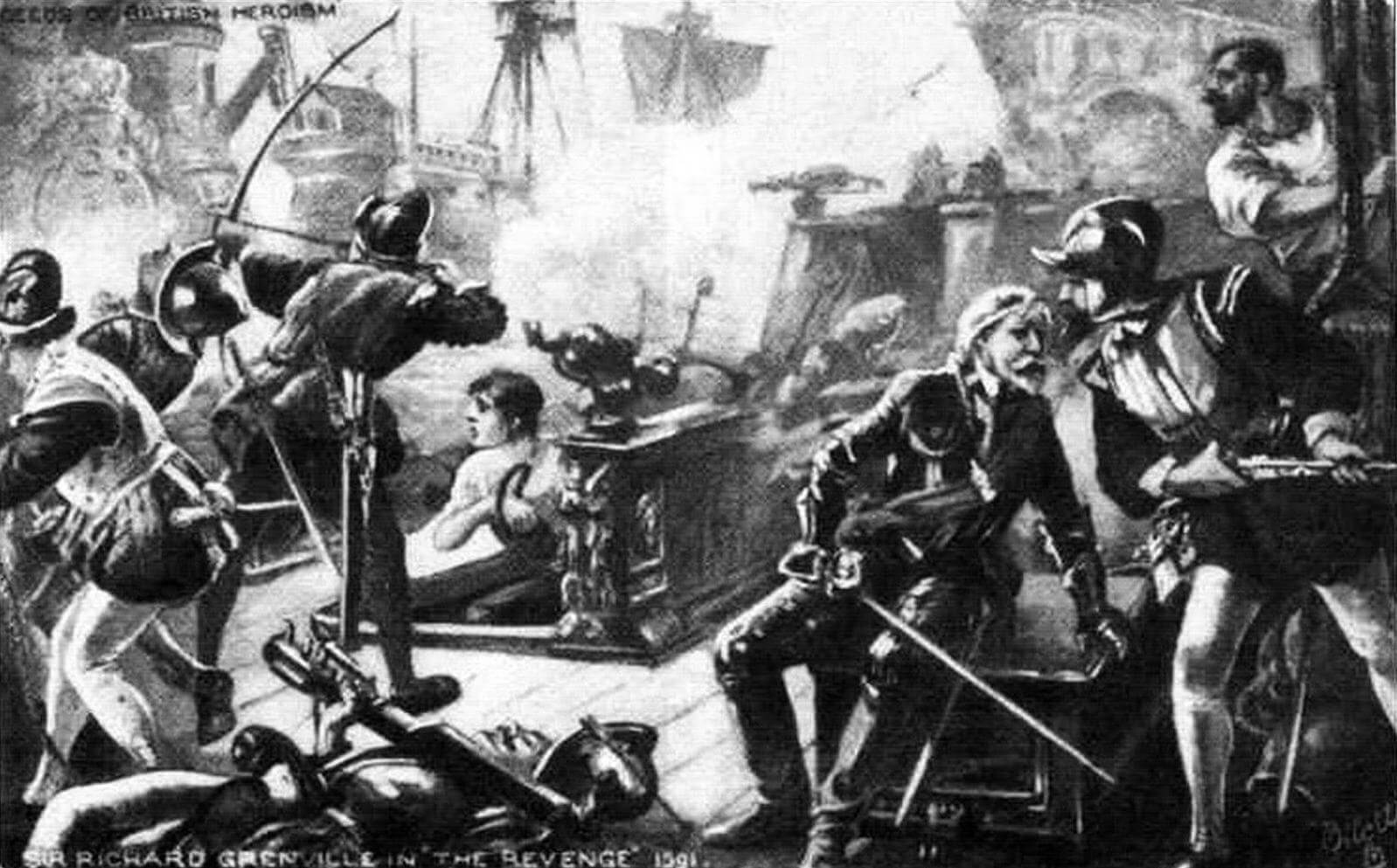 Сэр Ричард Гренвилл на «Ривендже» во время боя у острова Флорес. Команда английского галеона отчаянно сражается с многочисленными врагами, но сам капитан уже смертельно ранен в голову...