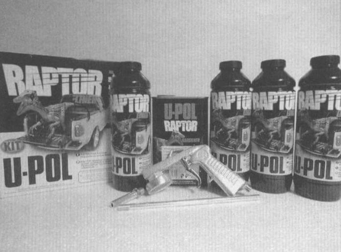 В базовый набор Raptor U-POL входят четыре емкости по 0,75 л препарата и 1 л отвердителя. Для покрытия кузова автомобиля целиком требуется 3-4 таких коробки