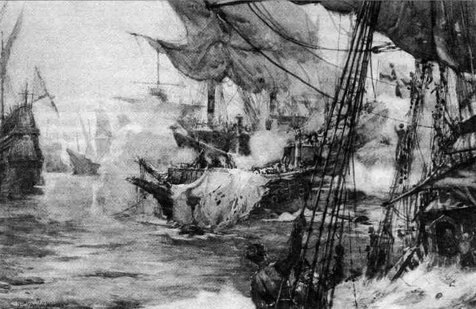 Бой «Ривенджа» с превосходящими силами противника в самом разгаре. И английский галеон, и многие его противники получили серьезные повреждения