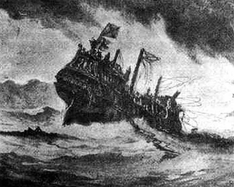 Гибель во время сильнейшего шторма захваченного испанцами «Ривенджа»