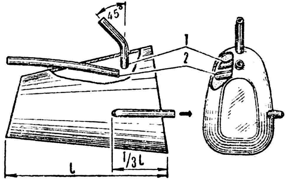 Рис. 2. Конструкция бака овальной формы в поперечном разрезе: 1 — заправочная трубка, 2 — дренажная трубка.