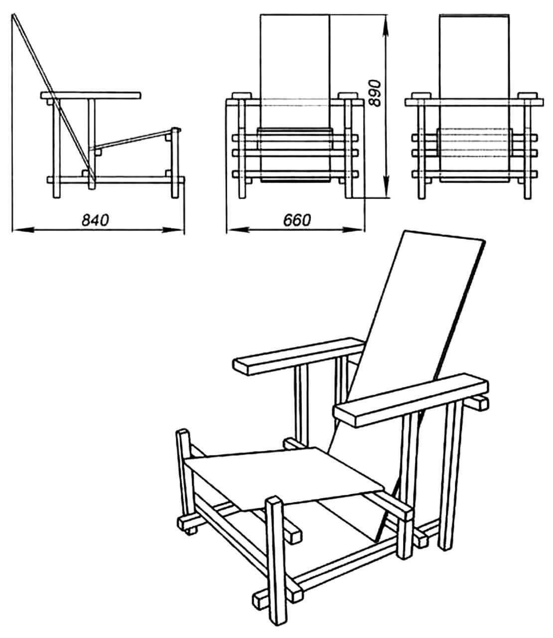 Конструкция, созданная Г. Ритвельдом в 1917 году, состоит из двух досок, опирающихся на пространственный каркас, образованный шестью вертикальными, пятью поперечными и двумя продольными брусками