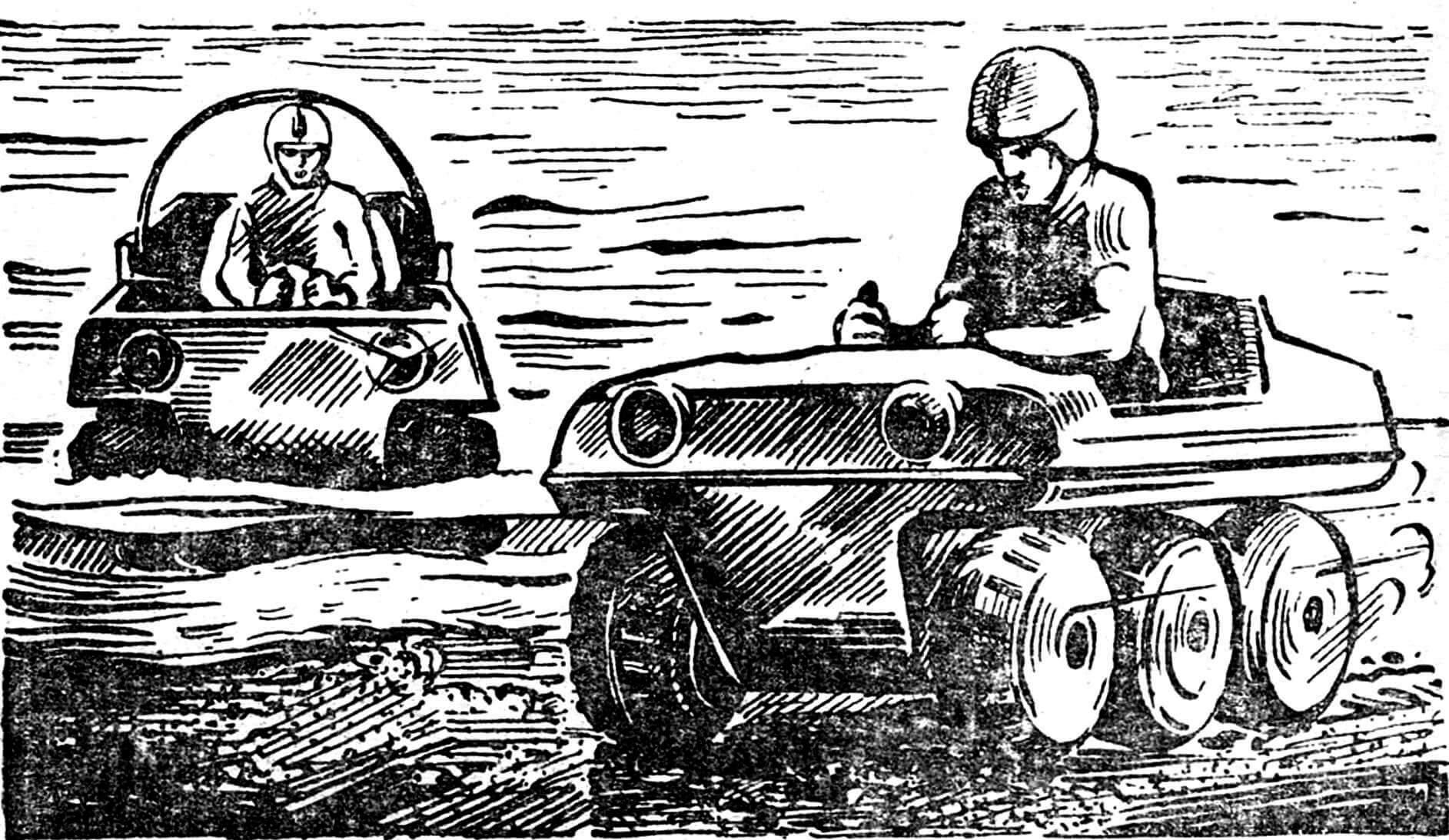 Рис. 2. Эпизод спортивных соревнований. Забрызганные грязью, залитые водой гонщики выжимают из своих машин предельную скорость.