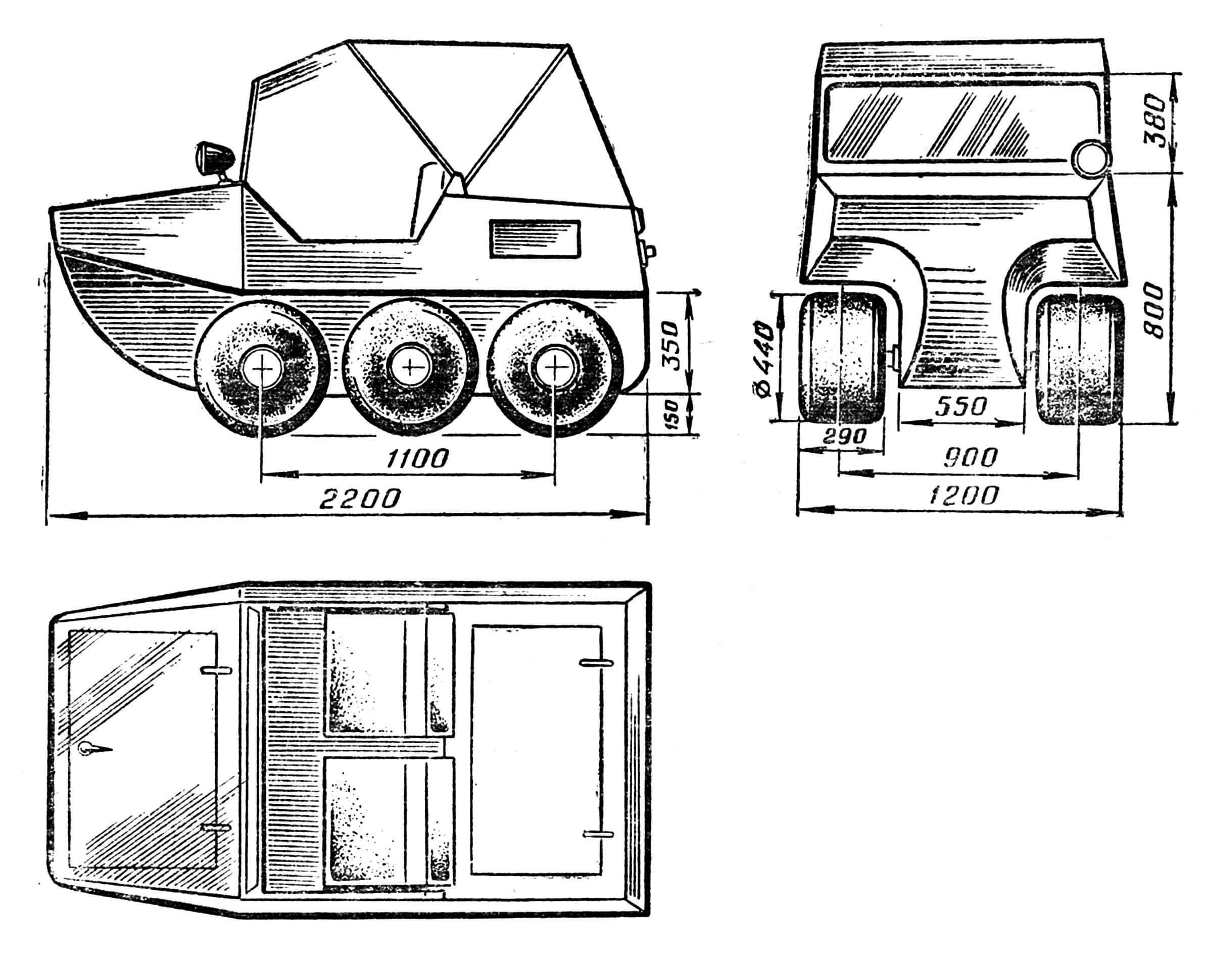 Рис. 1. Амфикар Н. Корчагина. Схема в трех проекциях.