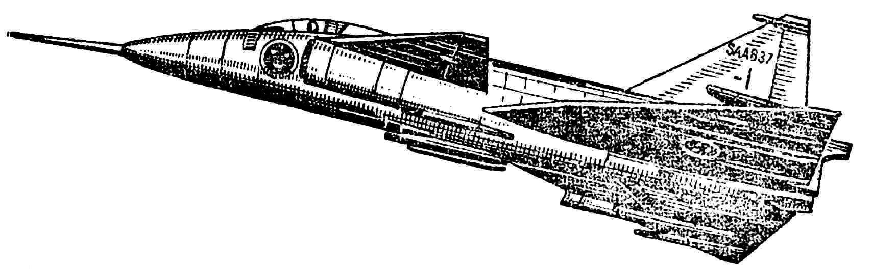 Рис. 2. Шведский сверхзвуковой истребитель «Сааб Вигген».