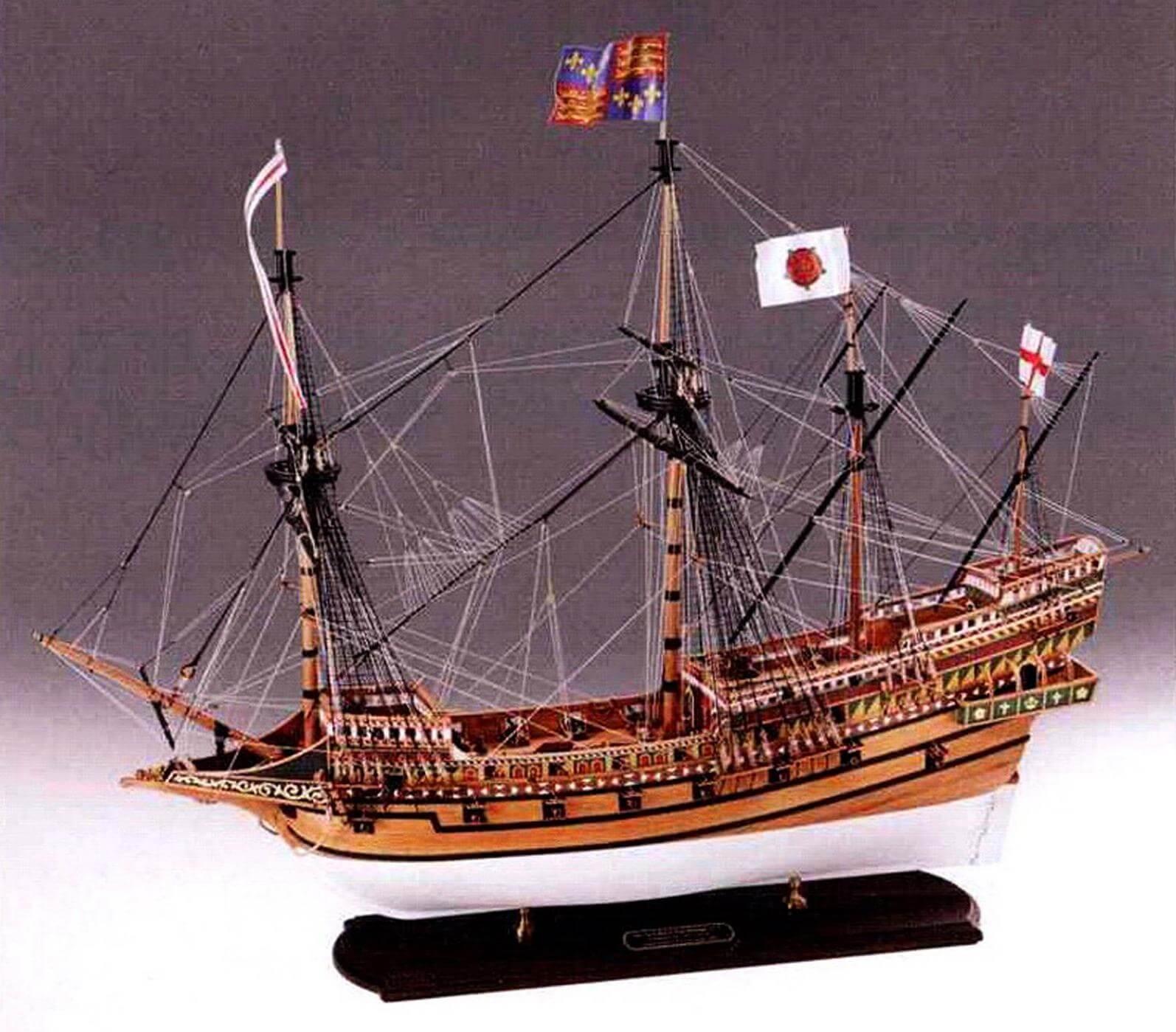 На этой модели «Ривенджа» прекрасно показана вся проводка снастей корабля (стоячего и бегучего такелажа).