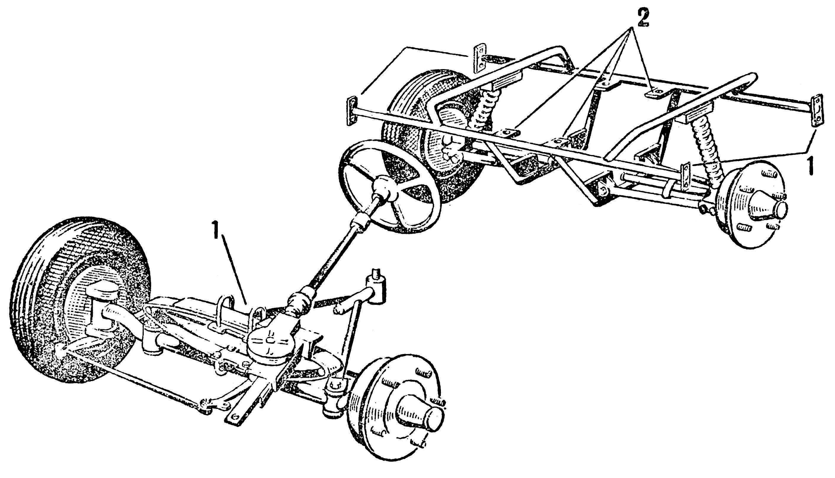Рис. 2. Ходовая часть машины: 1 — места крепления подвески к кузову; 2 — места крепления подмоторной рамы.