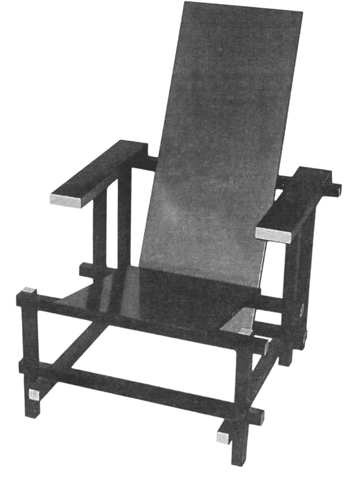 Оригинал «сине-красного стула» демонстрируется в Музее современного искусства в Нью-Йорке