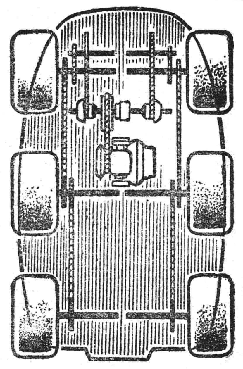 Рис. 3. Схема трансмиссии легкого вездехода. Здесь видны и колеса, и двигатель, и цепи.