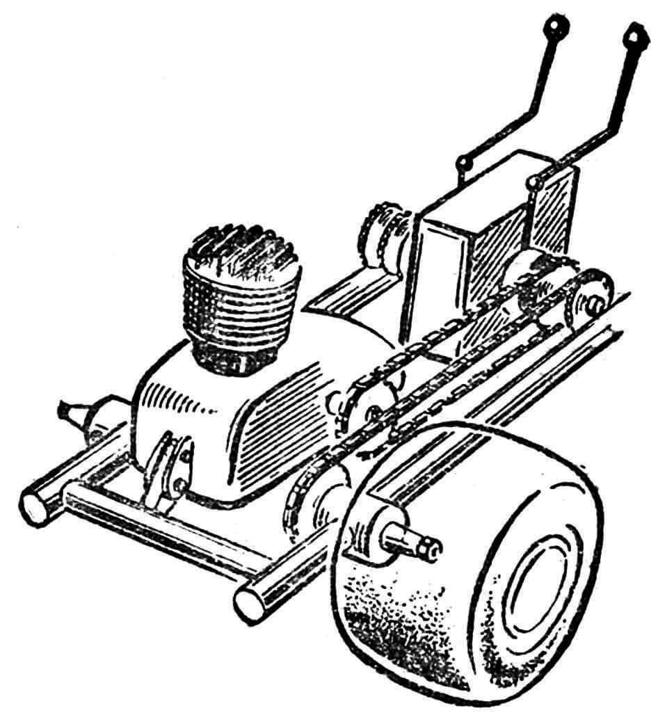 Рис. 2. Схема привода от двигателя на ведущие колеса.