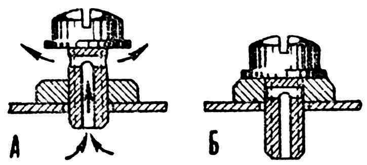 Рис. 3. Дренажная трубка для заправки! А — открыто, Б — закрыто.