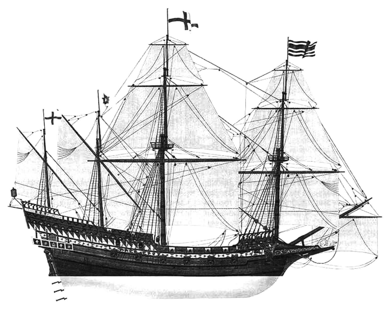 Реконструкция внешнего вида галеона «Ривендж». Вероятно, в отношении парусного вооружения корабля здесь допущена ошибка - в действительности он не имел брамселей на фок- и грот-мачте