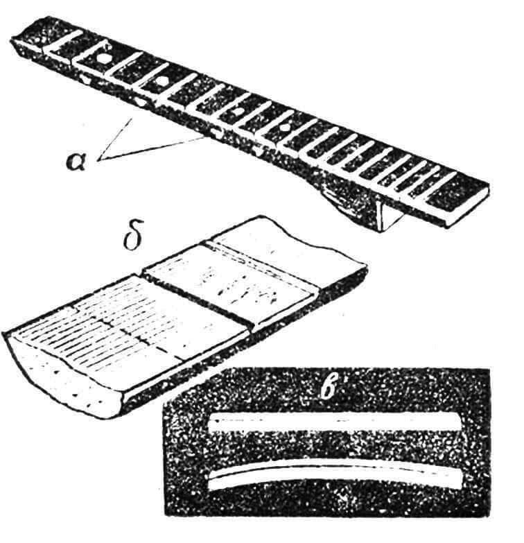 Рис. 4. Установка ладов: а — разметка ладов; б — в грифе выпиливаются пазы; в — верхний порожек.
