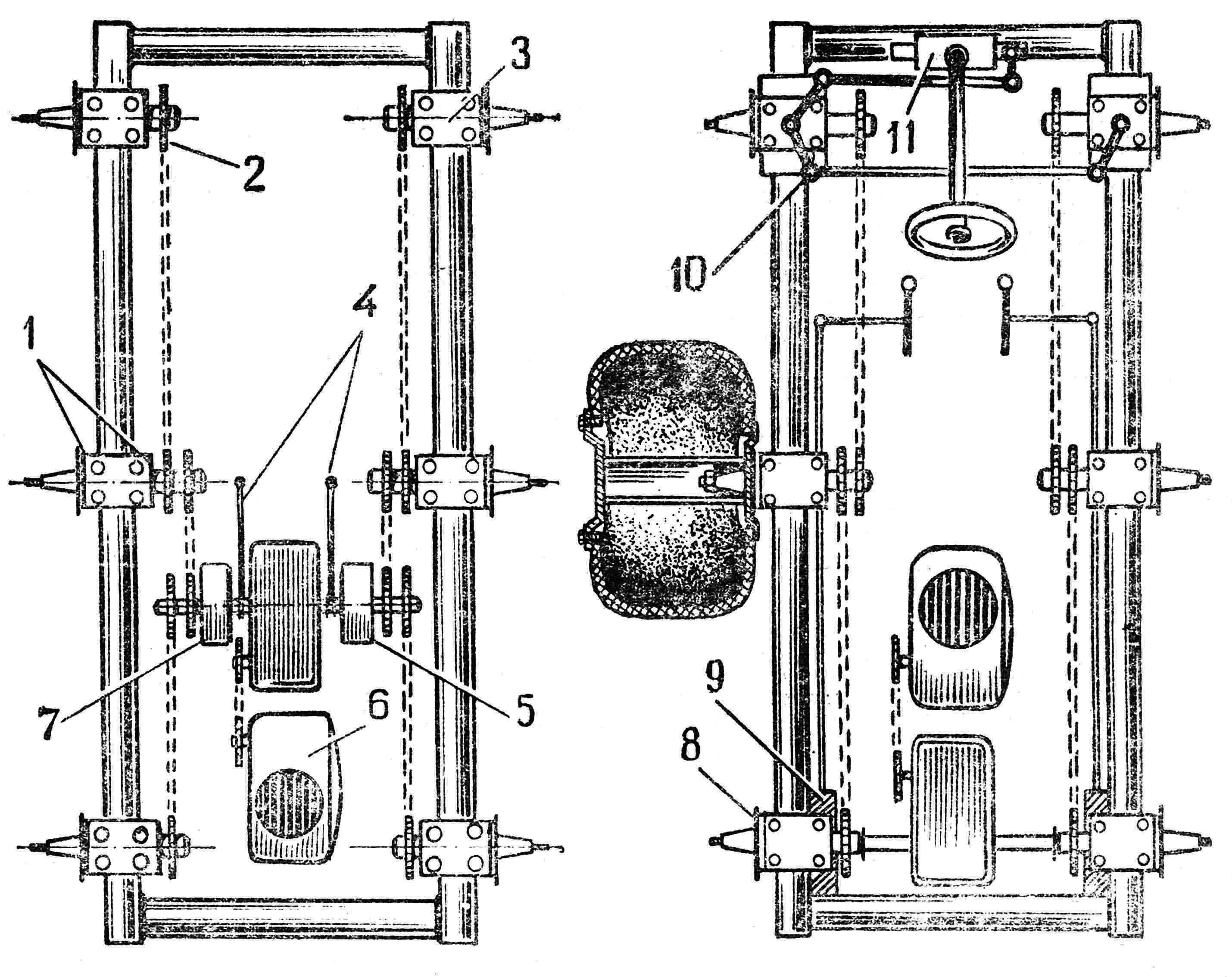 Рис. 3. Кинематическая схема: 1 — ступица, 2 — ведомая звездочка, 3 — ступица, 4 — рычаги управления, 5 — муфта, 6 — двигатель, 7 — муфта, 8 — ступица, 9 — тормозное устройство, 10 — рулевые тяги, 11 — рулевой механизм.