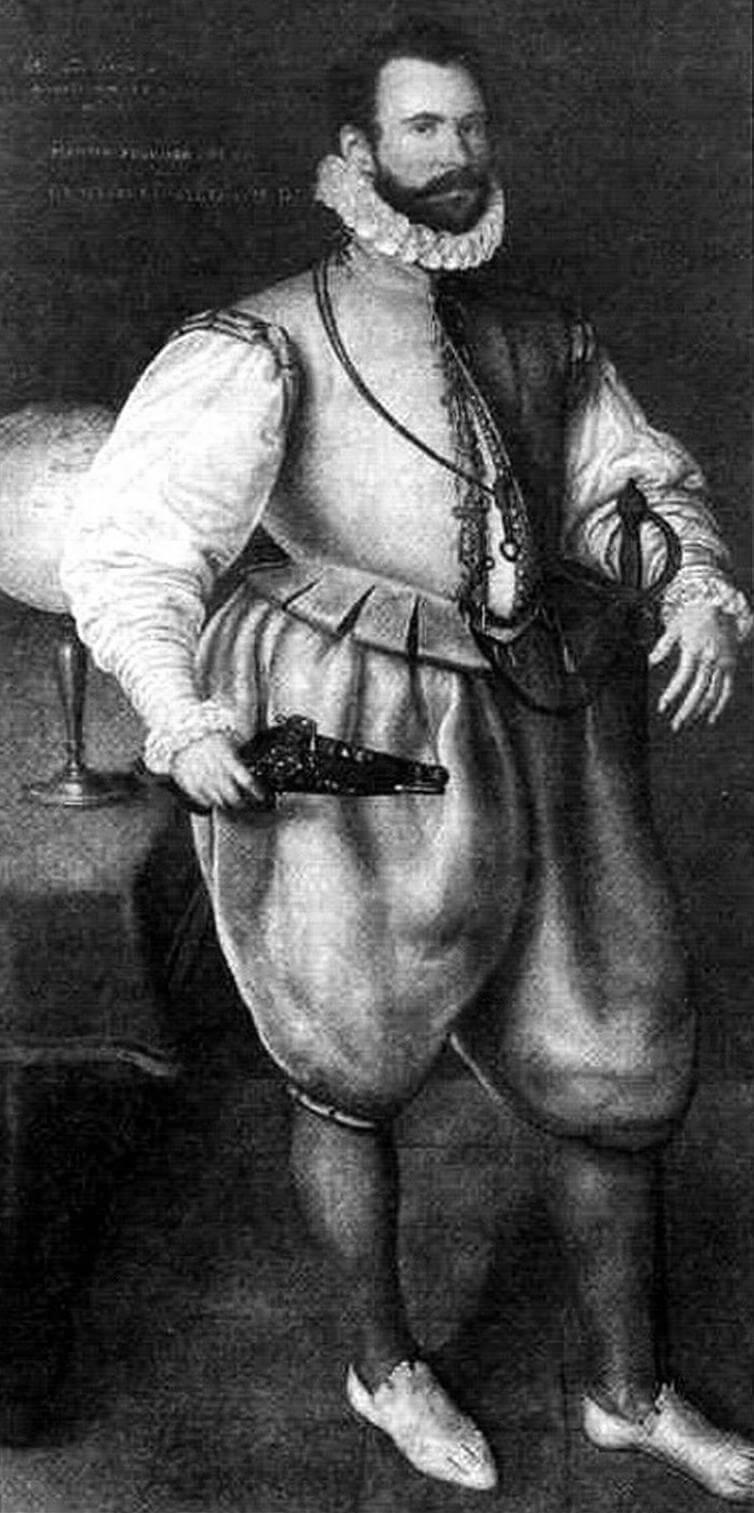 Один из выдающихся мореплавателей Елизаветинской эпохи, отважный воин Мартин Фробишер. В 1590 году он держал флаг на «Ривендже»