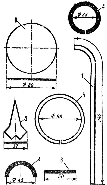 Почти таллинский фонарь: 1 — деталь каркаса, пруток ᴓ 8 мм, 2 — декоративный лист, жесть, 3 — стяжное кольцо, пруток ᴓ 6 мм, 4 — полукольцо, пруток ᴓ 6 мм, 5 — звено цепи, пруток ᴓ 6 мм, 6 — штырь, пруток ᴓ 6 мм.